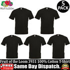 5 PACK OF FRUIT OF THE LOOM Plain Mens Black T Shirt S to XL Blank T-Shirt Tee image