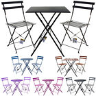 3 Piece Folding Metal Bistro Sets Outdoor Garden Patio Furniture Table & Chairs