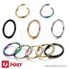 1-6x Piercing Nose Hoop Sleeper Clicker Ring Septum Ear Surgical Steel Jewellery