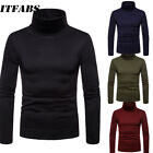 Men BASIC TOP Long Sleeve Pullover High Neck Turtleneck Stretch Slim T Shirt Tee image