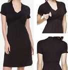 Внешний вид - New a:glow MATERNITY Knot Nursing Dress Women XS 4-6 Empire Waist Black V-Neck