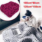 Large Soft Warm Handmade Chunky Knitted Blanket Thick Line Throw 2 Colors USA image