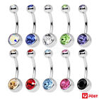 2-3pcs Belly Bar Navel Piercing Ring Crystal Rhinestone Surgical Steel Jewellery