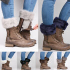 Внешний вид - Women Lady Winter Leg Warmers Crochet Knit Fur Trim Leg Boot Socks Toppers/Cuff