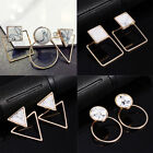 Внешний вид - Lady Geometric Round Triangle Square Marble Pattern Earrings Punk Ear Stud Gift