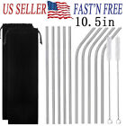 5 10 Pcs 105Stainless Steel Metal Drinking Straw Reusable Straws with Brush