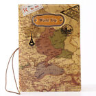 New Vintage PVC World Map Passport Holder Cover Travel Wallet Card Cover Case