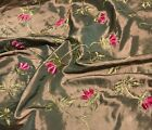 Chenille Embroidered Pink Flowers on Bronze - Faux Silk Taffeta Fabric
