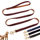 4ft Dogs Lead No-tangle Leather Dog Walking Lead for Small Dogs Puppy Cats Black