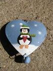 Metal Christmas Ornament- Heart Shaped w/ hanging bell - 5 different ornaments