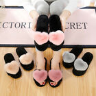 Fur Heart Pom Plush Slip on Sliders Slippers Sandals Flip Flops Women Flat Shoes