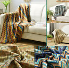 Boho Geometric Knitted Blue Mulit Color Throw Blanket Rug Sofa Bed Decro INS