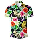 Men's Casual Floral Hawaiian Short Sleeve Shirt Dress Slim Fit Flower Camisa