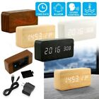 Clock LED Digital Alarm Wooden Thermometer Wood Desk Calendar Modern Timer USB