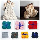 Chunky Knit Blanket Throw Bulky Blanket Knitting Yarn Baby Bed Chair Mat Rug  image