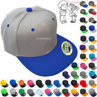 Baseball Cap Kids Solid Plain Boys Children Snapback Hat Classic Visor Flat Brim