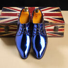 Men Blue Red Gold Shiny Shoes Oxford Pointed Lace Up Shoes For Wedding Parties