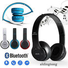 Wireless Headphones Bluetooth Headset Noise Cancelling Over Ear With Mic FM EN