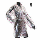 Ladies Girls Transparent Clear Fashion Festival PVC Raincoat Coat Jacket Mac