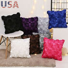 US 3D Rose Embroidered Pillow Case Cover Throw Sofa Waist Cushion Car Home Decor image