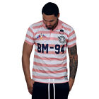 BLEECKER & MERCER Rugby Striped Poly Polo Pink