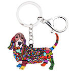 Acrylic Basset Hound Dog KeyChains Ring For Women Wallet Holder Jewelry