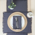 New MUSE Ashra Fringed Charcoal Table Linen