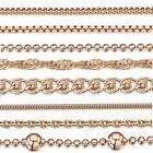 Amberta Jewelry Rose Gold Plated on 925 Sterling Silver Necklace Chain Italy image