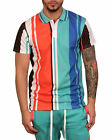 BLEECKER & MERCER Poly Striped Polo Turquoise