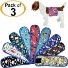 PACK of 3 Dog Diapers Male Belly Band Wrap RANDOM Colors Washable For SMALL Pet