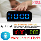 US Large LED Digital Alarm Snooze Clock Voice Control Time Display 5 Screen New