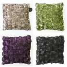 Luxury Twin Pack Ribbon Ruffle Rose Cushion Covers 43 cm x 43 cm - Pack of 2