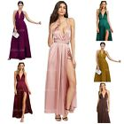 SheIn Women's Sexy Satin Deep V Neck Backless Maxi Party Evening Dress