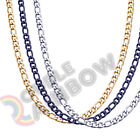 Men Women Figaro Necklace Chain Stainless Steel Gold/Silver/Black 3mm-12mm Link
