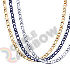 Men Women Figaro Necklace Chain Stainless Steel Gold/Silver/Black 3mm-12mm Link image