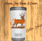 Monogram Decal Sticker For Tumblers,Cups, Thermos Deer Hunters Design & Name