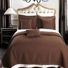 Brown Checkered Quilted Wrinkle Free Microfiber Coverlet Set with Shams & Pillow image