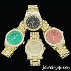 Mens 14k Gold Tone Iced out Simulated Diamond Hip Hop Rapper Techno Pave Watch image