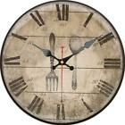 Retro Round Wooden Wall Clock Rustic Fork and Spoon Home Office Wall Decoration