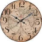 Retro Round Wooden Wall Clock Global Worldwide Map Home Office Wall Decoration