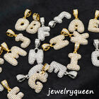 """Initial Bubble Letter Gold Silver Plated Iced Pendant + 20"""" Rope Chain Necklace image"""