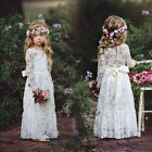 Girls Long Sleeve Rose Lace Princess Wedding Bridesmaid Maxi Dresses Ball Gown