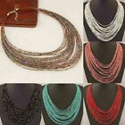 Boho Necklace Women Jewelry Beads Multi-layer Choker Statement Pendant Stylish