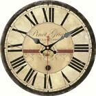 Vintage Round Wooden Wall Clock Wine Pinot Grigio Home Office Wall Decor