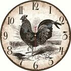 Vintage Round Wooden Wall Clock Black Rooster Outdoors Home Office Wall Decor