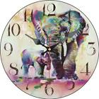 Retro Round Wooden Wall Clock Elephant Mom Protect Child Home Office Wall Decor
