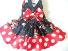 DOG DRESS/HARNESS MINNIE MOUSE RED /MATCHING HAIR BOW NEW  FREE SHIPPING