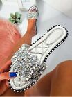 WOMENS LADIES FLAT STUDS DIAMANTE FASHION SLIDERS SANDALS HOILDAY SLIP ON MULES