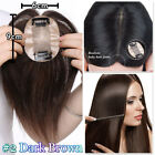 THICK 100% Human Remy Hair Mono Straight Hairpiece Clip in Wiglet Topper US P936