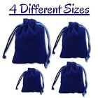 Navy Blue Soft Smooth Velvet Drawstring Pouches Jewellery Wedding Bags Small M/l